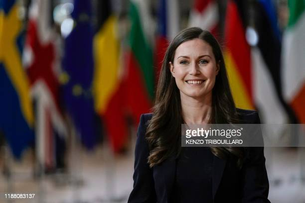 Finland's Prime Minister Sanna Marin arrives for a European Union Summit at the Europa building in Brussels on December 12 2019 European Union...
