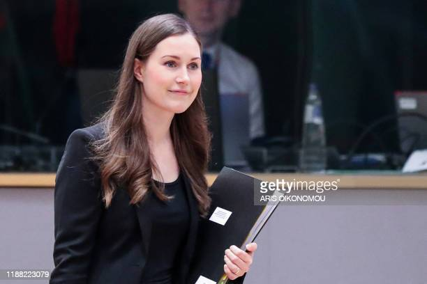 Finland's Prime Minister Sanna Marin arrives for the second day of a European Union Summit at the Europa building in Brussels on December 13 2019 EU...