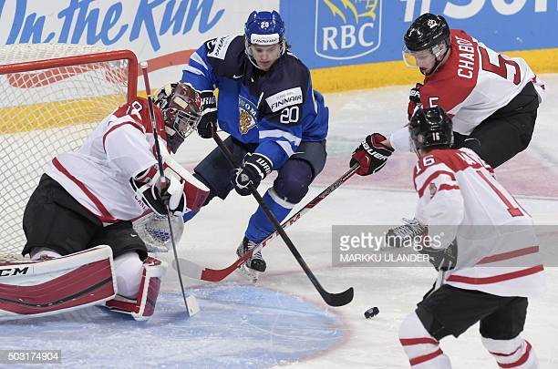 Finland's Sebastian Aho vies with goalkeeper Mackenzie Blackwood Mitch Marner and Thomas Chabot of Canada during the 2016 IIHF World Junior Ice...