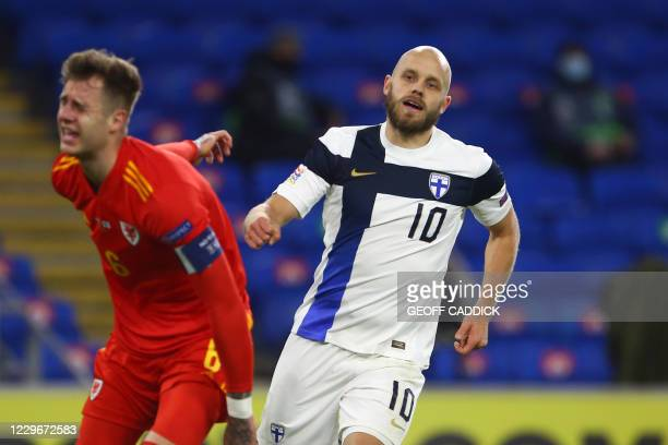 Finland's striker Teemu Pukki celebrates after scoring their first goal during the UEFA Nations League group B4 football match between Wales and...