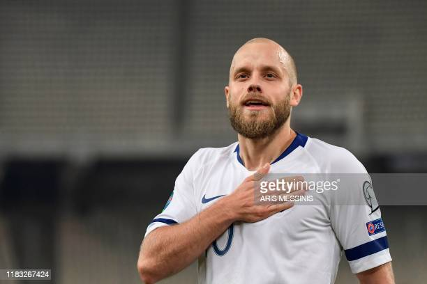 Finland's teemu Pukki celebrates after scoring against Greece during a group J qualification Euro 2020 football match, at the Athens' Olympic stadium...