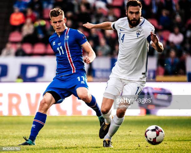 Finland's Tim Sparv and Iceland's Alfred Finnbogason during the FIFA World Cup 2018 Group I football qualification match between Finland and Iceland...