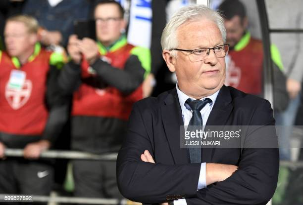 Finlands's head coach Hans Backe attends the World Cup 2018 qualifying football match Finland vs Kosovo on September 5 2016 in Turku / AFP PHOTO /...
