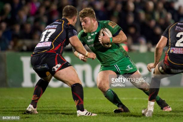 Finlay Bealham of Connacht tackled by Thomas Davies of Dragons during the Guinness PRO12 match between Connacht Rugby and Newport Gwent Dragons at...