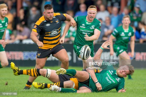 Finlay Bealham of Connacht tackled during the Pre Season friendly match between Connacht Rugby and Wasps at Dubarry Park in Athlone, Ireland on...
