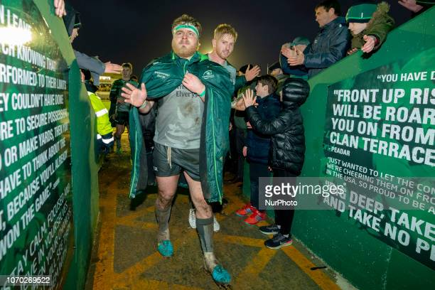 Finlay Bealham of Connacht thanks his fans during the European Rugby Challenge Cup match between Connacht Rugby and Perpignan at the Sportsground in...