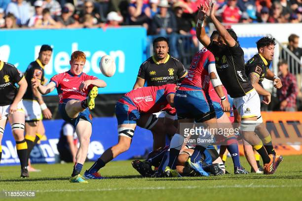 Finlay Christie clears the ball during the Mitre 10 Cup Premiership Final between Tasman and Wellington at Trafalgar Park on October 26 2019 in...