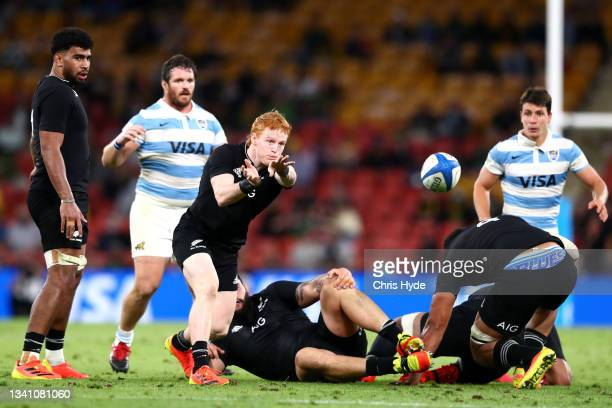 Finlay Christie of the All Blacks passes the ball during The Rugby Championship match between the Argentina Pumas and the New Zealand All Blacks at...