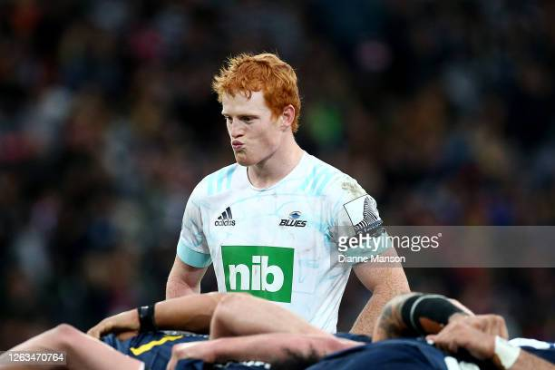 Finlay Christie of the Blues looks on during the round 8 Super Rugby Aotearoa match between the Highlanders and the Blues at Forsyth Barr Stadium on...
