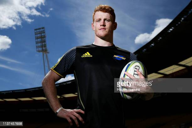 Finlay Christie poses during a Hurricanes Super Rugby training session at Westpac Stadium on March 22 2019 in Wellington New Zealand