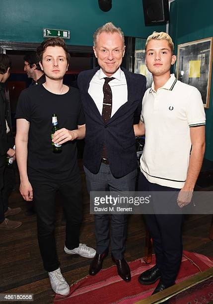 Finlay Kemp Gary Kemp and Rafferty Law attend the after party following the UK Premiere of 'Buttercup Bill' at The Groucho Club on September 1 2015...