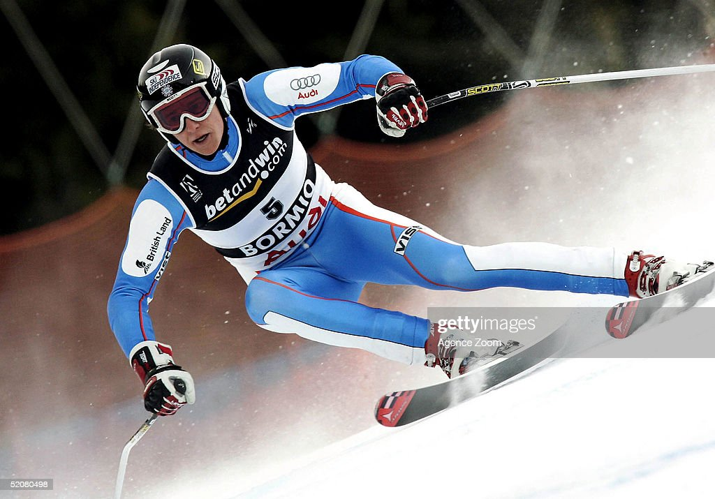 Finlay Mickel of Great Britain competes during his 23rd place finish in the Men's Super G at the FIS Alpine World Ski Championships on January 29, 2005 in Bormio, Italy.