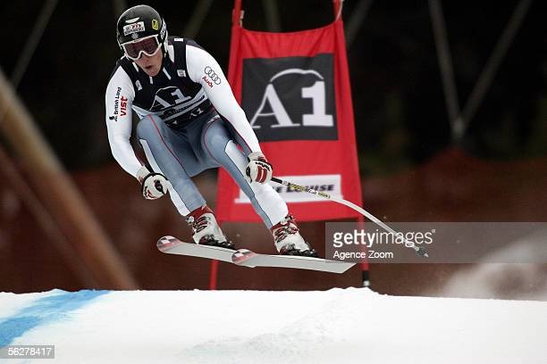 Finlay Mickel of Great Britain competes during the season opening FIS World Cup Men's Downhill on November 26 2005 in Lake Louise Alberta Canada