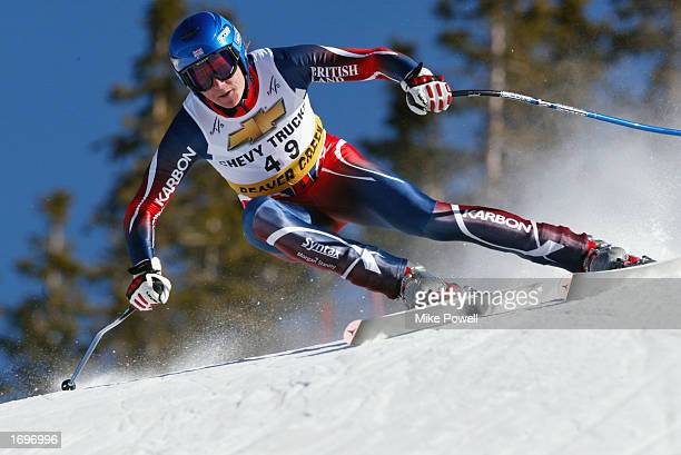 Finlay Mickel of Great Britian in action during the FIS World Cup downhill training at Beaver Creek Ski Resort on December 6 2002 in Beaver Creek...