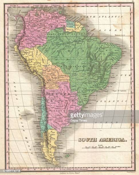 Finley Map of South America, Anthony Finley mapmaker of the United States in the 19th century.