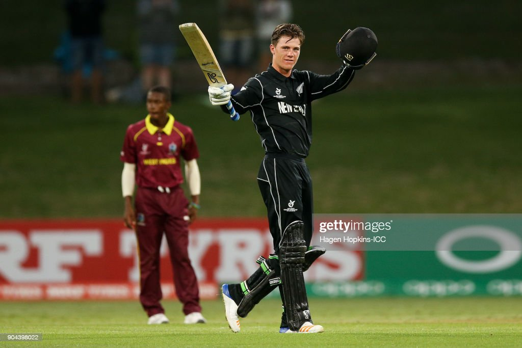 Finn Allen of New Zealand celebrates his century during the ICC U19 Cricket World Cup match between New Zealand and the West Indies at Bay Oval on January 13, 2018 in Tauranga, New Zealand.