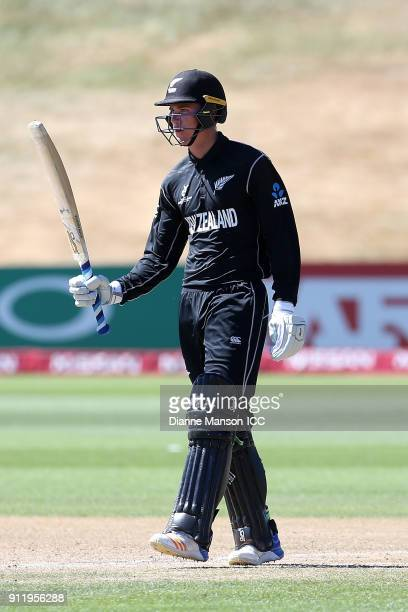 Finn Allen of New Zealand celebrates his half century during the ICC U19 Cricket World Cup match between New Zealand and England at John Davies Oval...