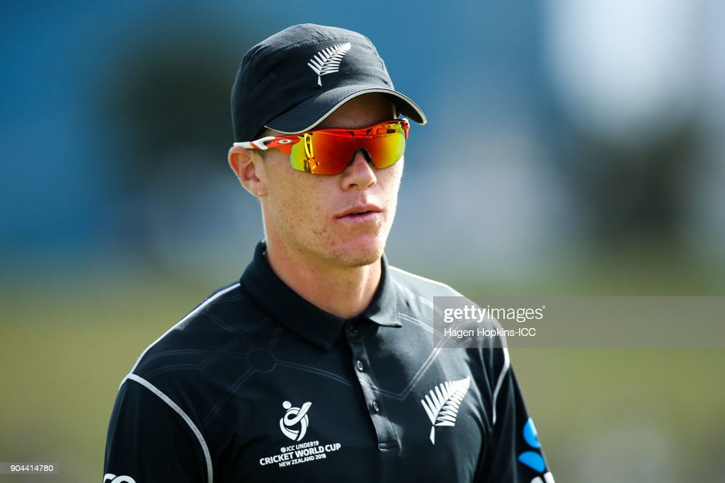 Finn Allen of New Zealand looks on during the ICC U19 Cricket World Cup match between New Zealand and the West Indies at Bay Oval on January 13, 2018 in Tauranga, New Zealand.
