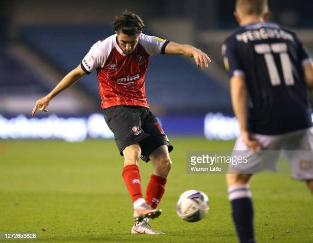 Finn Azaz of Cheltenham Town scores his team's first goal during the Carabao Cup Second Round match between Milwall FC and Cheltenham Town at The Den...