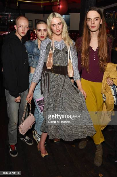 Finn Buchanan Maxim Magnus Josephine Jones and Rubie Green attend MAC party celebrating World Aids Day on November 29 2018 in London England