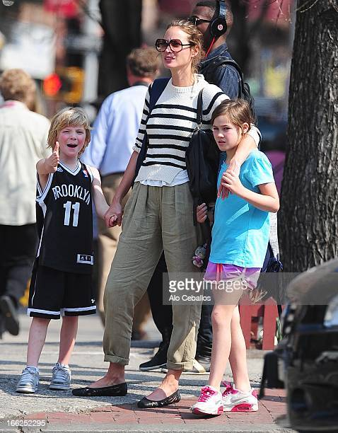 Finn Burns Christy Turlington Burns and Grace Burns are seen in the West Village on April 10 2013 in New York City