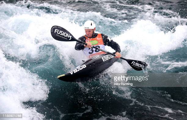 Finn Butcher of New Zealand competes in the Men's K1 Heats during the 2019 ICF Canoe Slalom World Cup at Lee Valley White Water Centre on June 14...