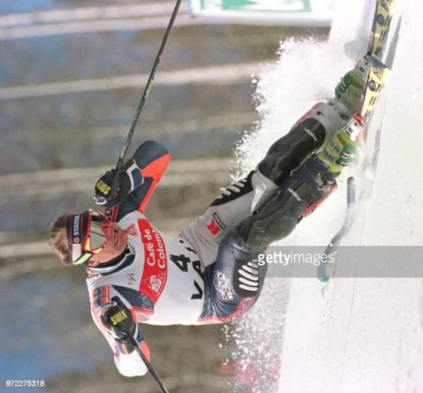 Finn Charles Jagge of Norway cuts around a gate as he skis to first place in the first heat of the Men's Slalom at the World Cup Ski Finals in Vail...