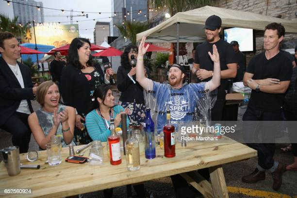 Finn Cole Jessica Sanders Nadia Chaudhury Ben Robson and Shawn Hatosy pose with guests during TNT Animal Kingdom at SXSW 2017 on March 11 2017 in...