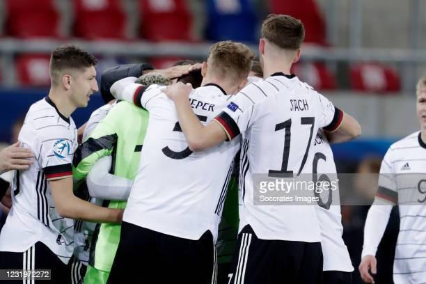 Finn Dahmen of Germany U21, Amos Pieper of Germany U21, Anton Stach of Germany U21 during the EURO U21 match between Germany v Holland at the Sosto...