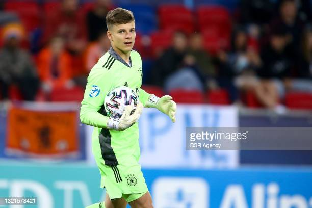 Finn Dahmen of Germany U21 during the 2021 UEFA European Under-21 Championship Semi-Finals match between Netherlands and Germany at MOL Arena Sosto...