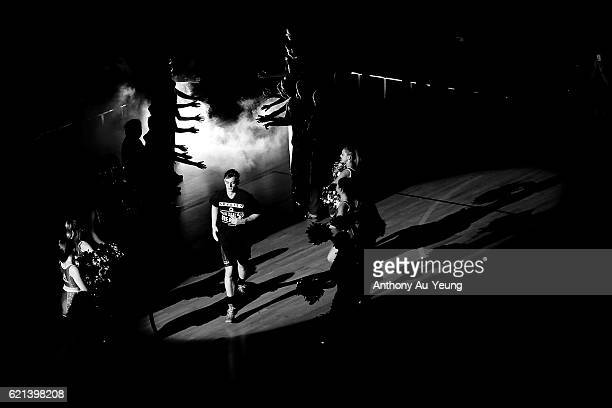 Finn Delany of New Zealand runs out during the players introduction during the round five NBL match between the New Zealand Breakers and the Brisbane...