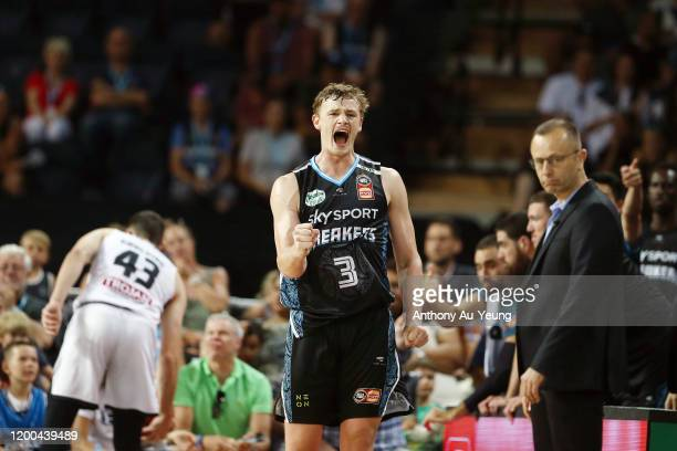 Finn Delany of the Breakers celebrates after forcing a turnover on United during the round 16 NBL match between the New Zealand Breakers and...