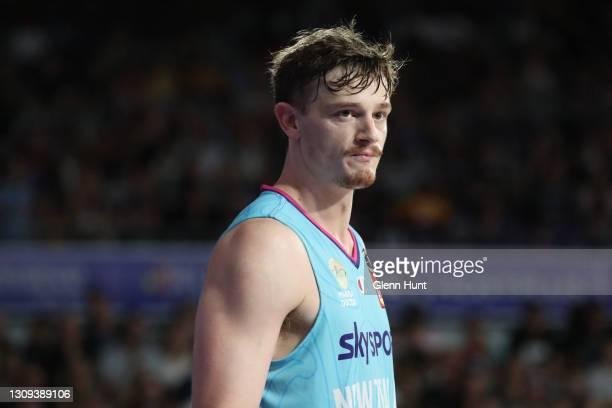 Finn Delany of the Breakers during the round 11 NBL match between the Brisbane Bullets and the New Zealand Breakers at Nissan Arena on March 27, 2021...