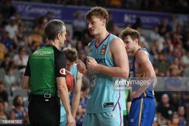 Finn Delany of the Breakers pleads with the umpire during the round 11 NBL match between the Brisbane Bullets and the New Zealand Breakers at Nissan...