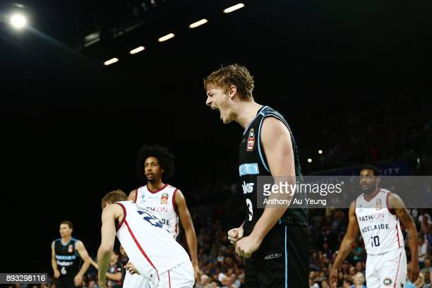 Finn Delany of the Breakers reacts during the round 10 NBL match between the New Zealand Breakers and the Adelaide 36ers at Spark Arena on December...