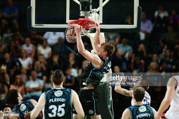 Finn Delany of the Breakers with a dunk on the break during the round 10 NBL match between the New Zealand Breakers and the Adelaide 36ers at Spark...