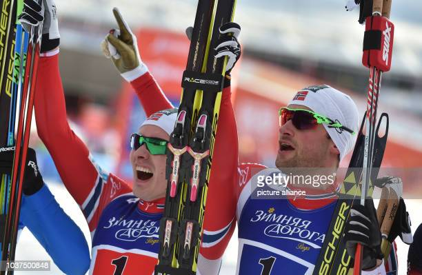Finn Haagen Krogh and Petter Nothug of Norway celebrate after winning the cross country mens 6 x 15 km Free Sprint competition at the Nordic Skiing...