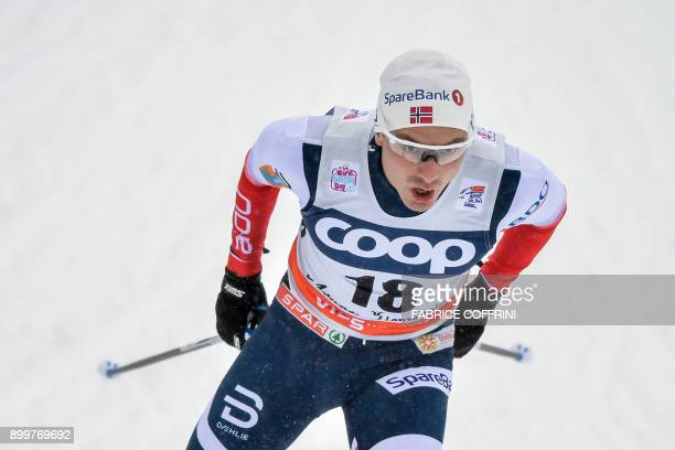 Finn Haagen Krogh competes the Men's 1.5 km Sprint Free qualification during the cross country FIS World cup Tour de Ski event on December 30, 2017...