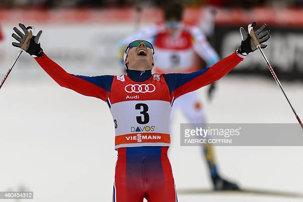 Finn Haagen Krogh of Norway celebrates after he won the Mens 13km sprint free final at the Nordic skiing FIS crosscountry World Cup event on December...