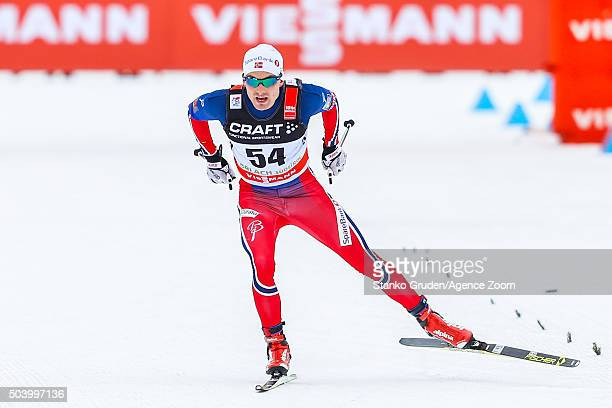 Finn Haagen Krogh of Norway takes 1st place during the FIS Nordic World Cup Men's and Women's Cross Country Tour de Ski on January 8 2016 in Toblach...