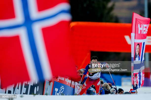 Finn Haagen Krogh of Norway takes 2nd place during the FIS Nordic World Cup Men's and Women's Cross Country Tour de Ski on January 10 2016 in Val di...