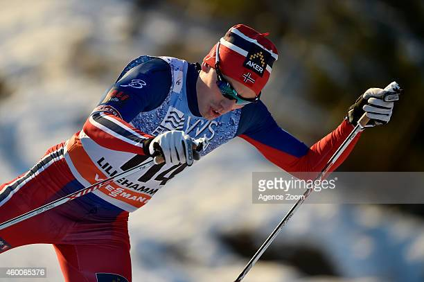 Finn Haagen Krogh of Norway takes 3rd place during the FIS CrossCountry World Cup Men's 10 km and Women's 5km Free on December 06 2014 in Lillehammer...