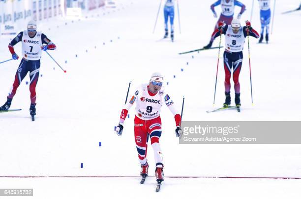 Finn Haagen Krogh of Norway wins the bronze medal during the FIS Nordic World Ski Championships Men's and Women's Cross Country Skiathlon on February...