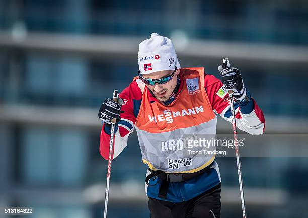 Finn Hagen Krogh of Norway during training Cross Country Sprint on February 29 2016 in GatineauQuebecCanada