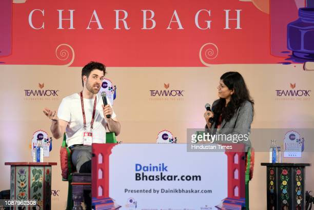 Finn in conversation with Amrita Tripathi during Woman in the Window session at ZEE Jaipur Literature Festival 2019 at Diggi Palace on January 24...
