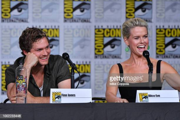 Finn Jones and Alice Eve speak onstage at Netflix Marvel's Iron Fist during ComicCon International 2018 at San Diego Convention Center on July 19...