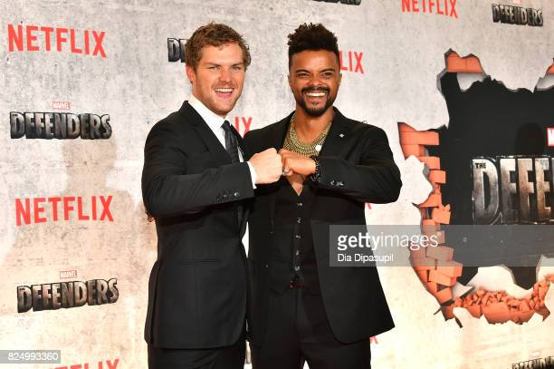 Finn Jones and Eka Darville attend the Marvel's The Defenders New York Premiere at Tribeca Performing Arts Center on July 31 2017 in New York City