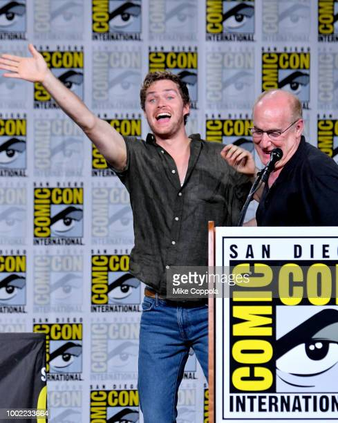 Finn Jones and Jeph Loeb speak onstage at Netflix Marvel's Iron Fist during ComicCon International 2018 at San Diego Convention Center on July 19...