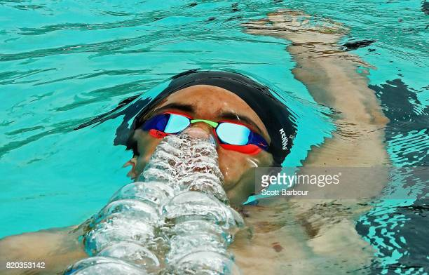 Finn Kennard Campbell of New Zealand competes in the Boy's 200m Backstroke Heat 2 Swimming on day 4 of the 2017 Youth Commonwealth Games at Betty...