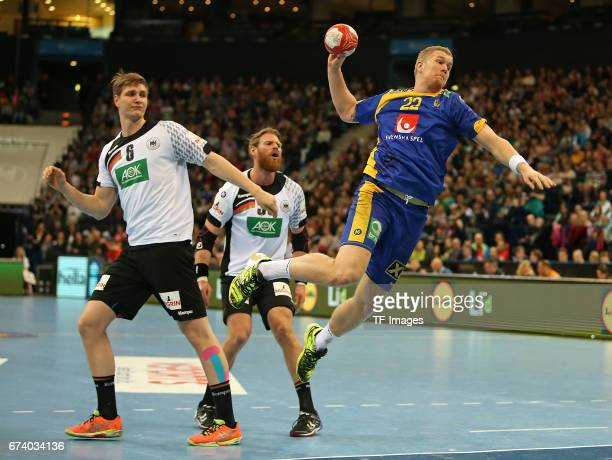 Finn Lemke of Germany and Manuel Spaeth of Germany and Anton Lindskog of Sweden battle for the ball during the match Germany vs Sweden at Barclaycard...